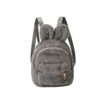 Small Faux Fur Bunny Backpack – Grey
